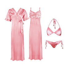 Load image into Gallery viewer, 4 Pcs Strappy Lace Long Satin Nighty With Robe Bra and Thong