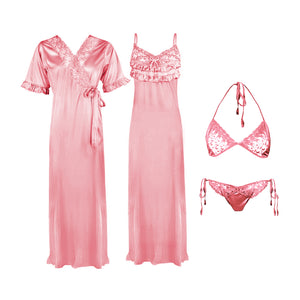 4 Pcs Strappy Lace Long Satin Nighty With Robe Bra and Thong