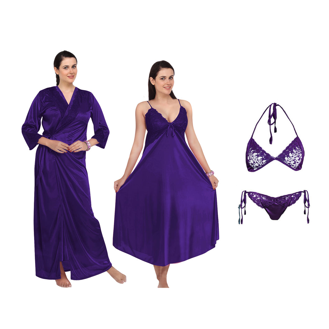 UK Women Lace Silky Soft Satin Chemise Nightdress Nightwear 4 Pcs