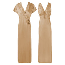 Load image into Gallery viewer, The Orange Tags Womens Satin Long Nightdress Lace Detailed