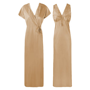 The Orange Tags Womens Satin Long Nightdress Lace Detailed