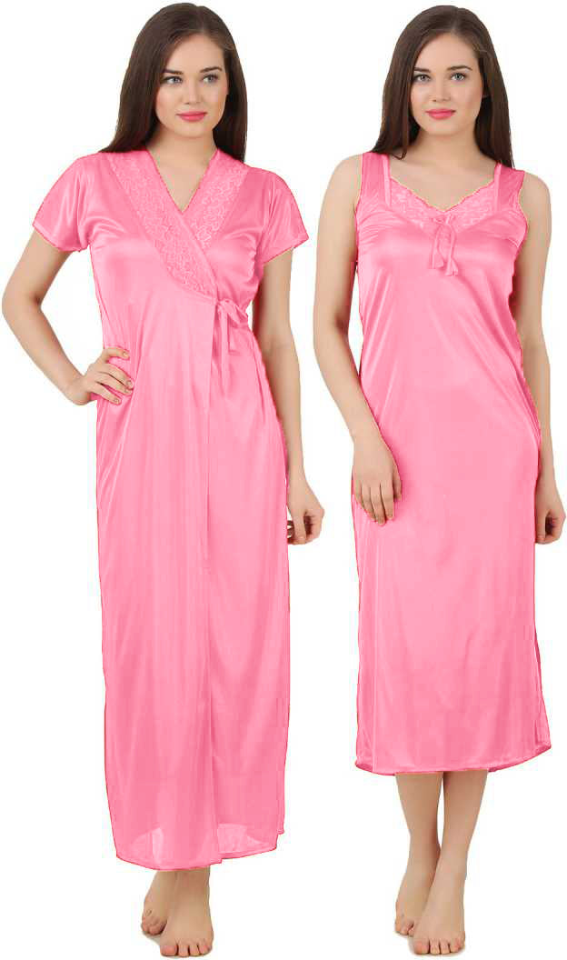 Women 2 Pieces Satin Dressing Gown Nightdress, Sexy Ladies Kimono Robe BABY PINK ONE SIZE 12