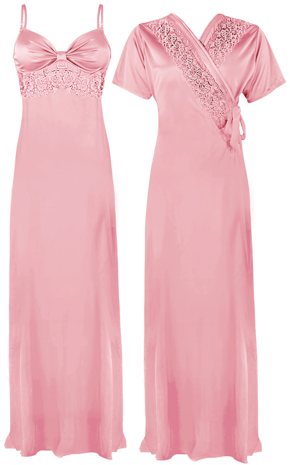 Colour: Baby Pink 2 Pcs Strappy Lace Long Nighty With Robe Size: One Size