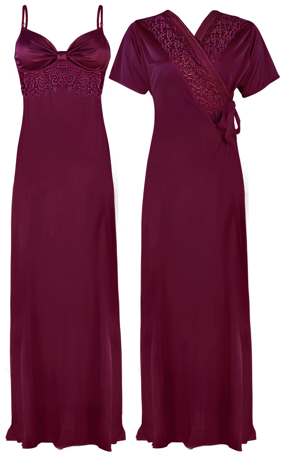 Colour: Dark Wine 2 Pcs Strappy Lace Long Nighty With Robe Size: One Size