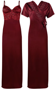 Colour: Deep Red 2 Pcs Strappy Lace Long Nighty With Robe Size: One Size