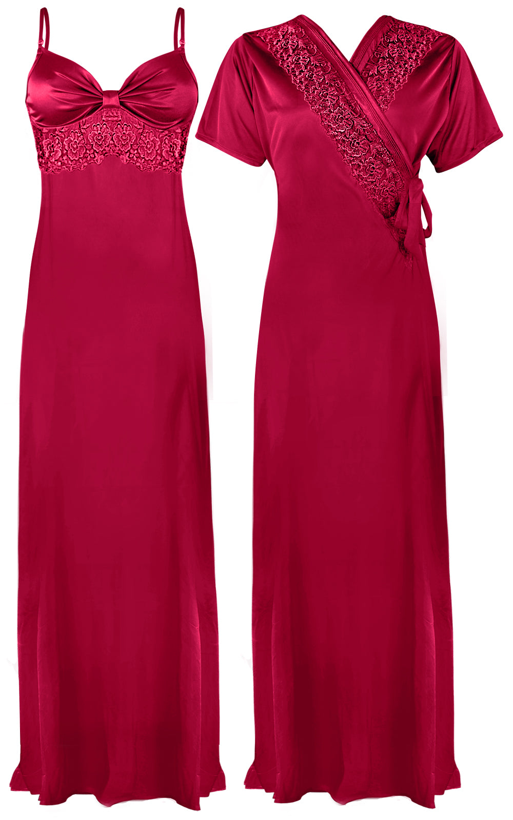 Colour: Cerise 2 Pcs Strappy Lace Long Nighty With Robe Size: One Size