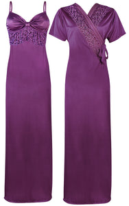 Colour: Light Purple 2 Pcs Strappy Lace Long Nighty With Robe Size: One Size