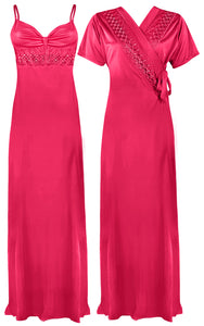 Colour: PInk 1 2 Pcs Strappy Lace Long Nighty With Robe Size: One Size