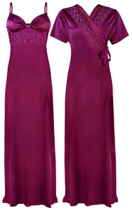 Colour: Purple 2 Pcs Strappy Lace Long Nighty With Robe Size: One Size