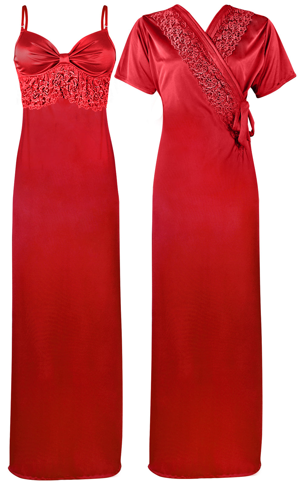 Colour: Red 2 Pcs Strappy Lace Long Nighty With Robe Size: One Size