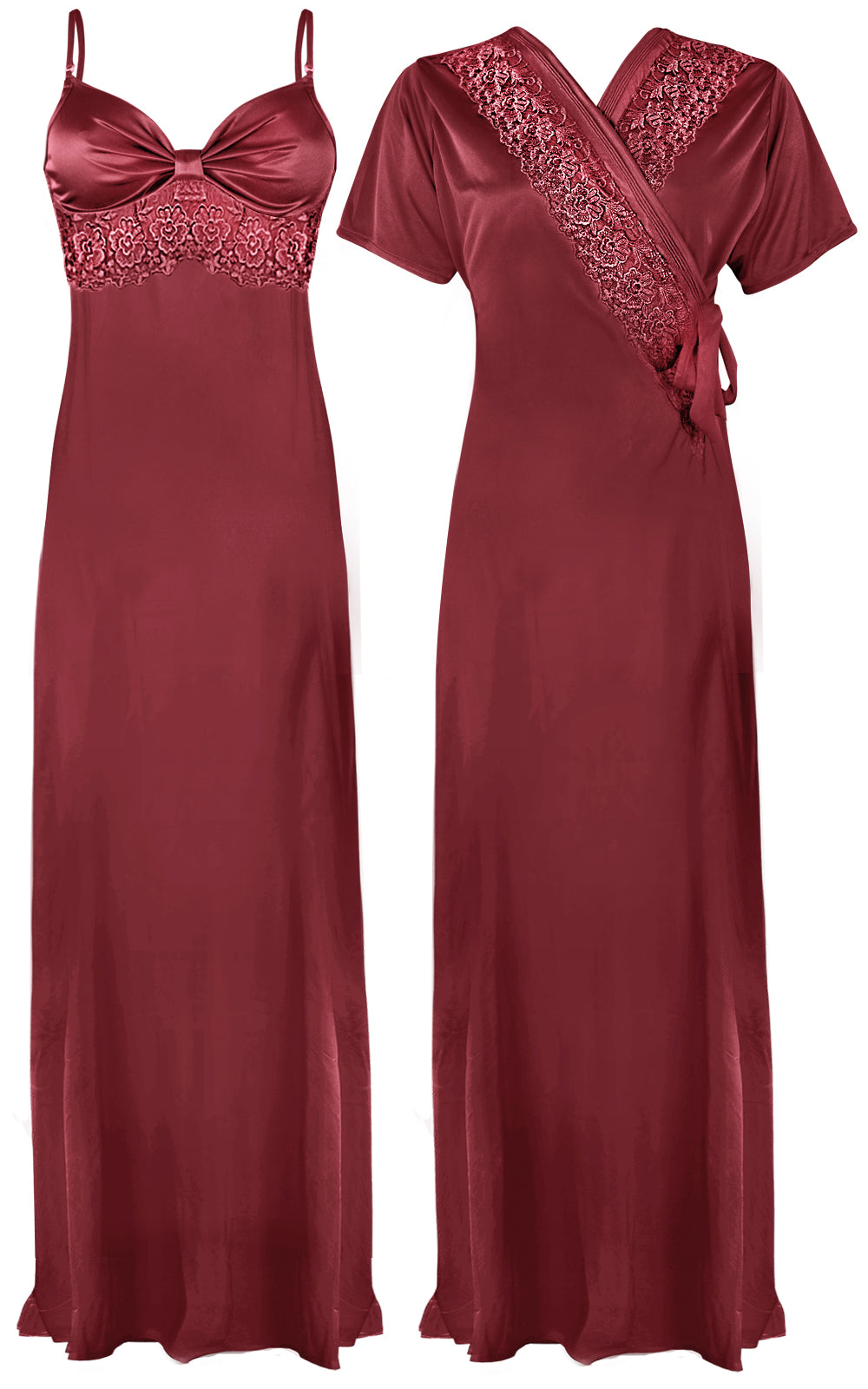 Colour: Rosewood 2 Pcs Strappy Lace Long Nighty With Robe Size: One Size
