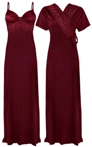 Colour: Ruby 2 Pcs Strappy Lace Long Nighty With Robe Size: One Size