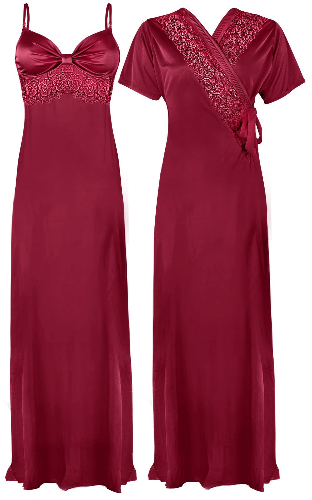 Colour: Wine 2 Pcs Strappy Lace Long Nighty With Robe Size: One Size