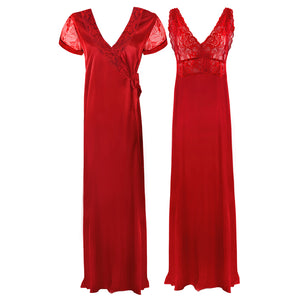 Satin 2 Pcs Nighty and Robe [colour]- Hautie UK, #Nightfashion | #Underfashion
