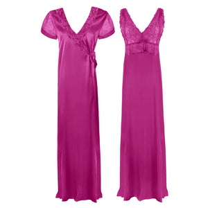 Satin 2 Pcs Nighty and Robe