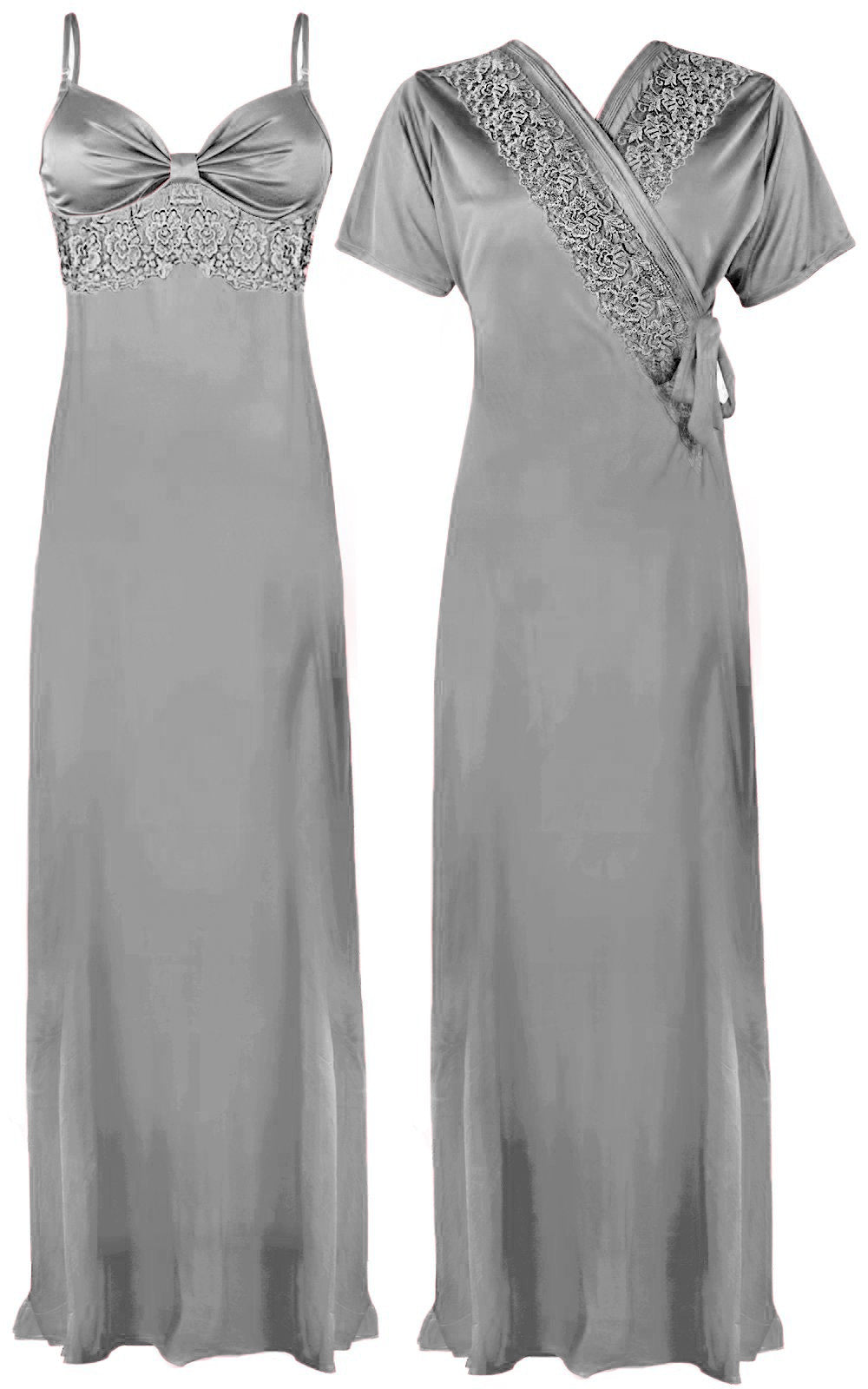 Colour: Silver 2 Pcs Strappy Lace Long Nighty With Robe Size: One Size
