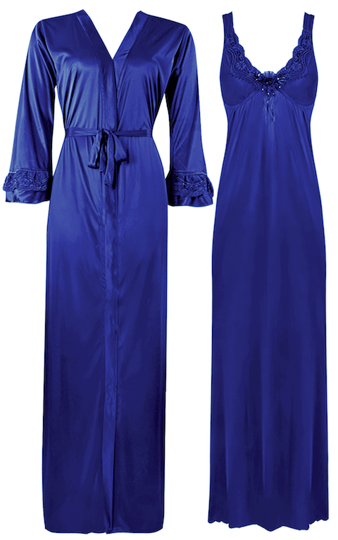 Color: Blue 2 Piece Satin Nighty and Robe With Long Sleeve Dressing Gown Size: XL