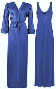 2 Piece Satin Nighty and Robe With Long Sleeve Dressing Gown [colour]- Hautie UK, #Nightfashion | #Underfashion