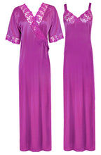 Load image into Gallery viewer, Women Satin Nighty with Robe Nightdress