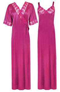 Women Satin Nighty with Robe Nightdress