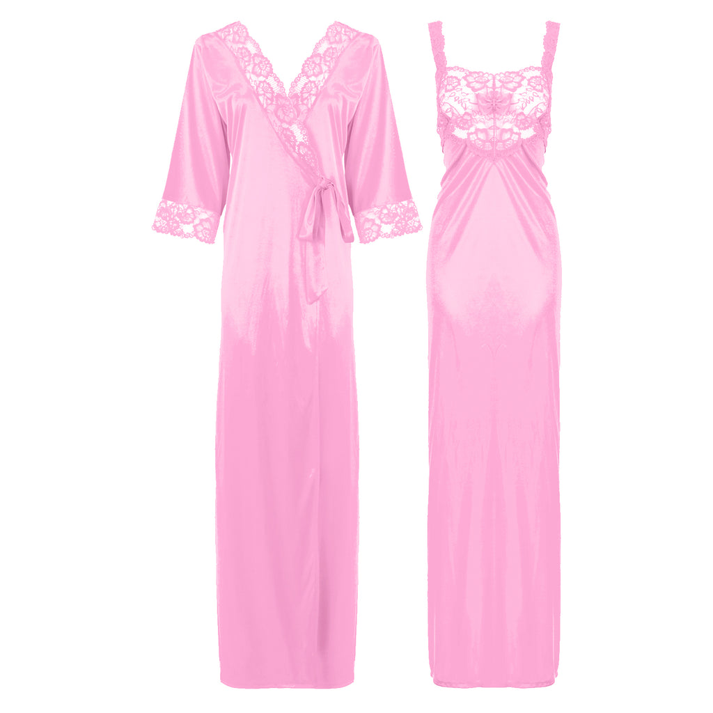 Satin Long Lace Nightie with Robe - Hautie Nightfashion Sizes- 12, 14, 16, 18, 20, 22 BABY PINK