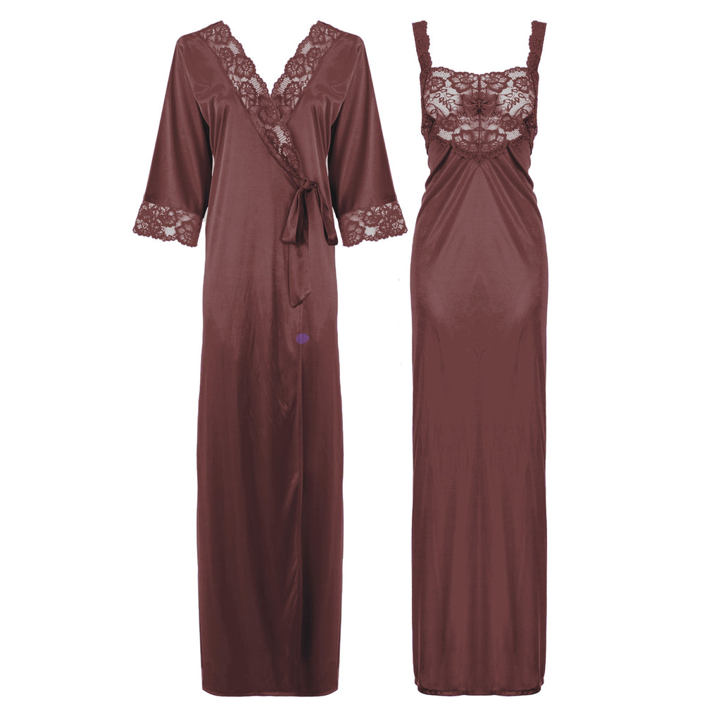 Satin Long Lace Nightie with Robe - Hautie Nightfashion Sizes- 12, 14, 16, 18, 20, 22 BURGUNDY