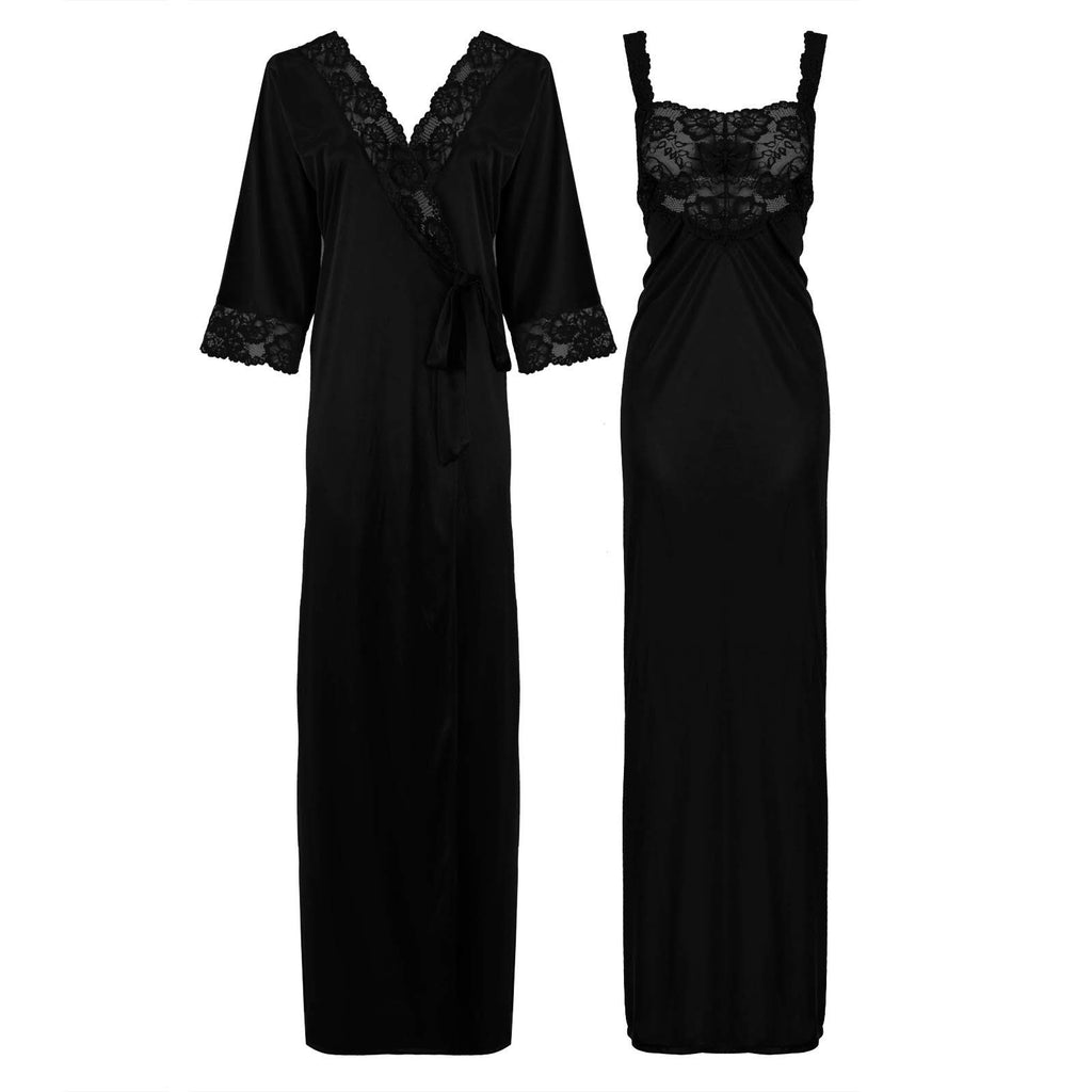 Satin Long Lace Nightie with Robe - Hautie Nightfashion Sizes- 12, 14, 16, 18, 20, 22 BLACK