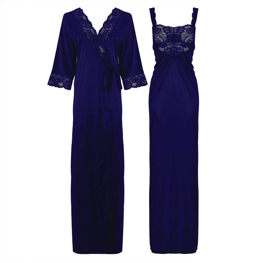 Satin Long Lace Nightie with Robe - Hautie Nightfashion Sizes- 12, 14, 16, 18, 20, 22 BLUE