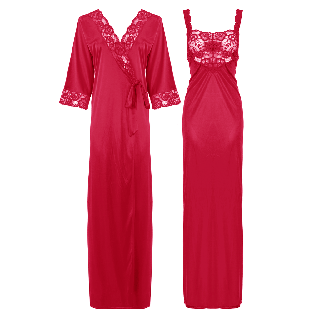 Satin Long Lace Nightie with Robe - Hautie Nightfashion Sizes- 12, 14, 16, 18, 20, 22 CERISE