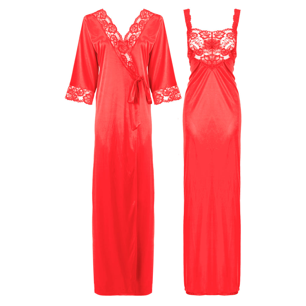 Satin Long Lace Nightie with Robe - Hautie Nightfashion Sizes- 12, 14, 16, 18, 20, 22 CORAL PINK