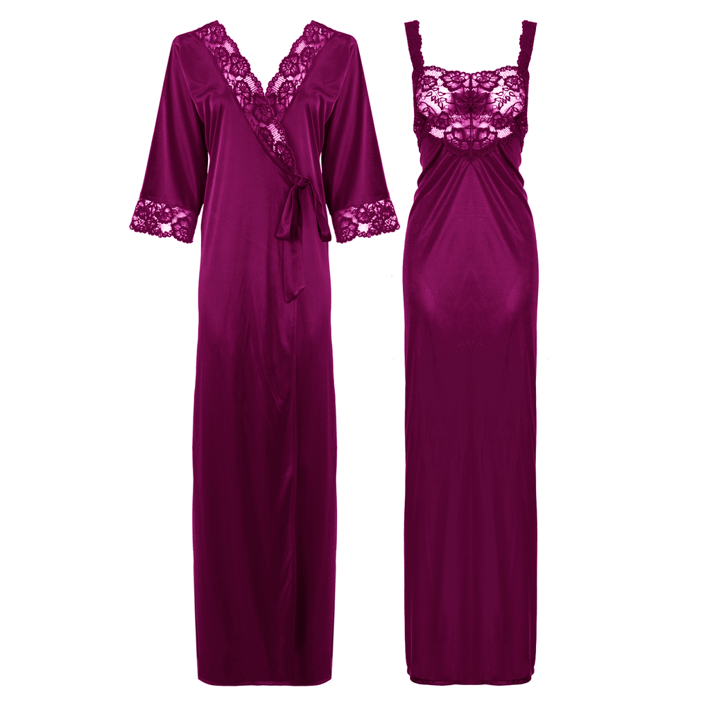 Satin Long Lace Nightie with Robe - Hautie Nightfashion Sizes- 12, 14, 16, 18, 20, 22 DARK PURPLE