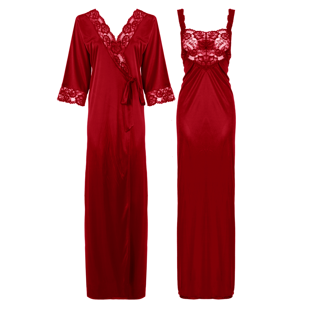 Satin Long Lace Nightie with Robe - Hautie Nightfashion Sizes- 12, 14, 16, 18, 20, 22 DEEP RED