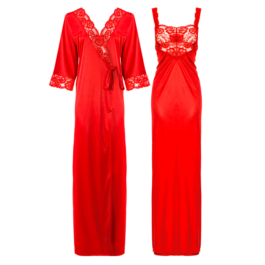 Satin Long Lace Nightie with Robe - Hautie Nightfashion Sizes- 12, 14, 16, 18, 20, 22 RED