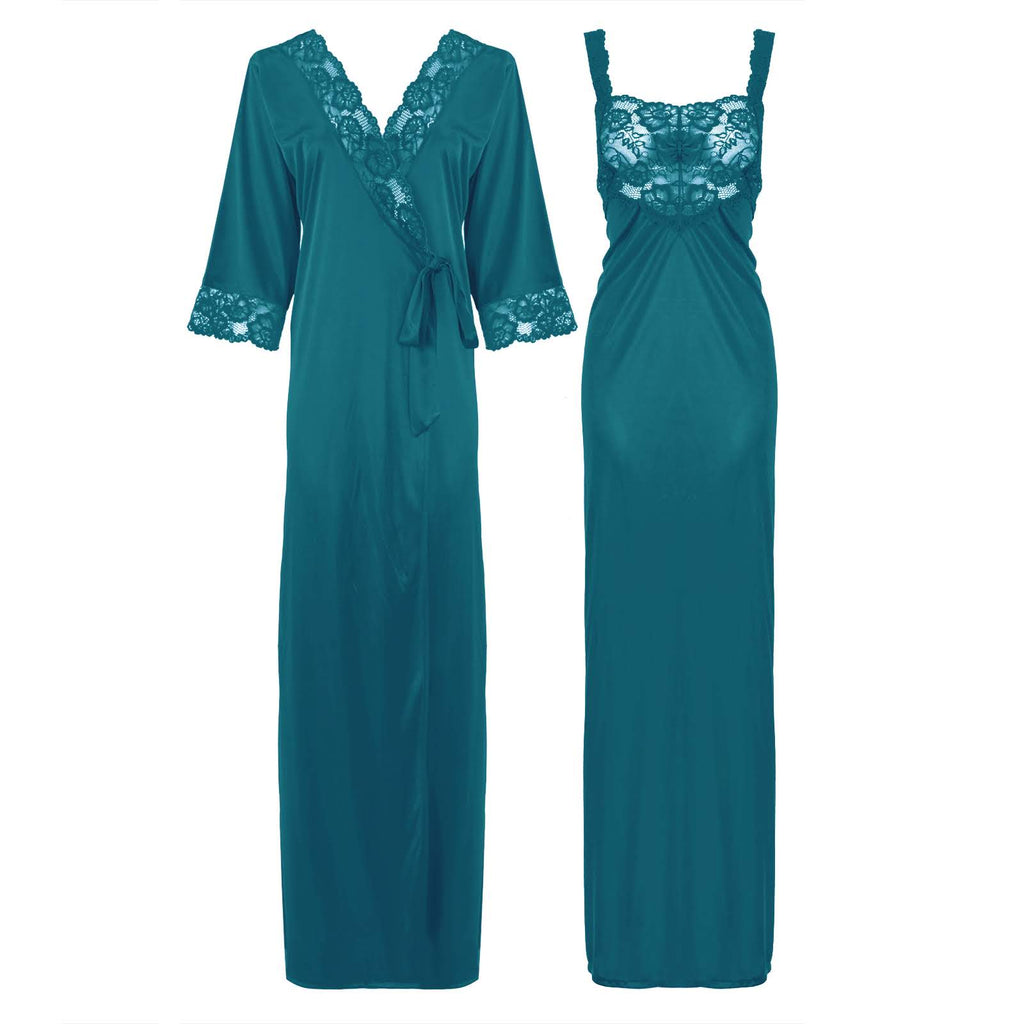 Satin Long Lace Nightie with Robe - Hautie Nightfashion Sizes- 12, 14, 16, 18, 20, 22 TEAL