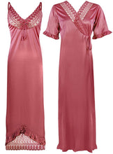 Load image into Gallery viewer, Women Satin Nighty With Robe 2 Pcs Set [colour]- Hautie UK, #Nightfashion | #Underfashion