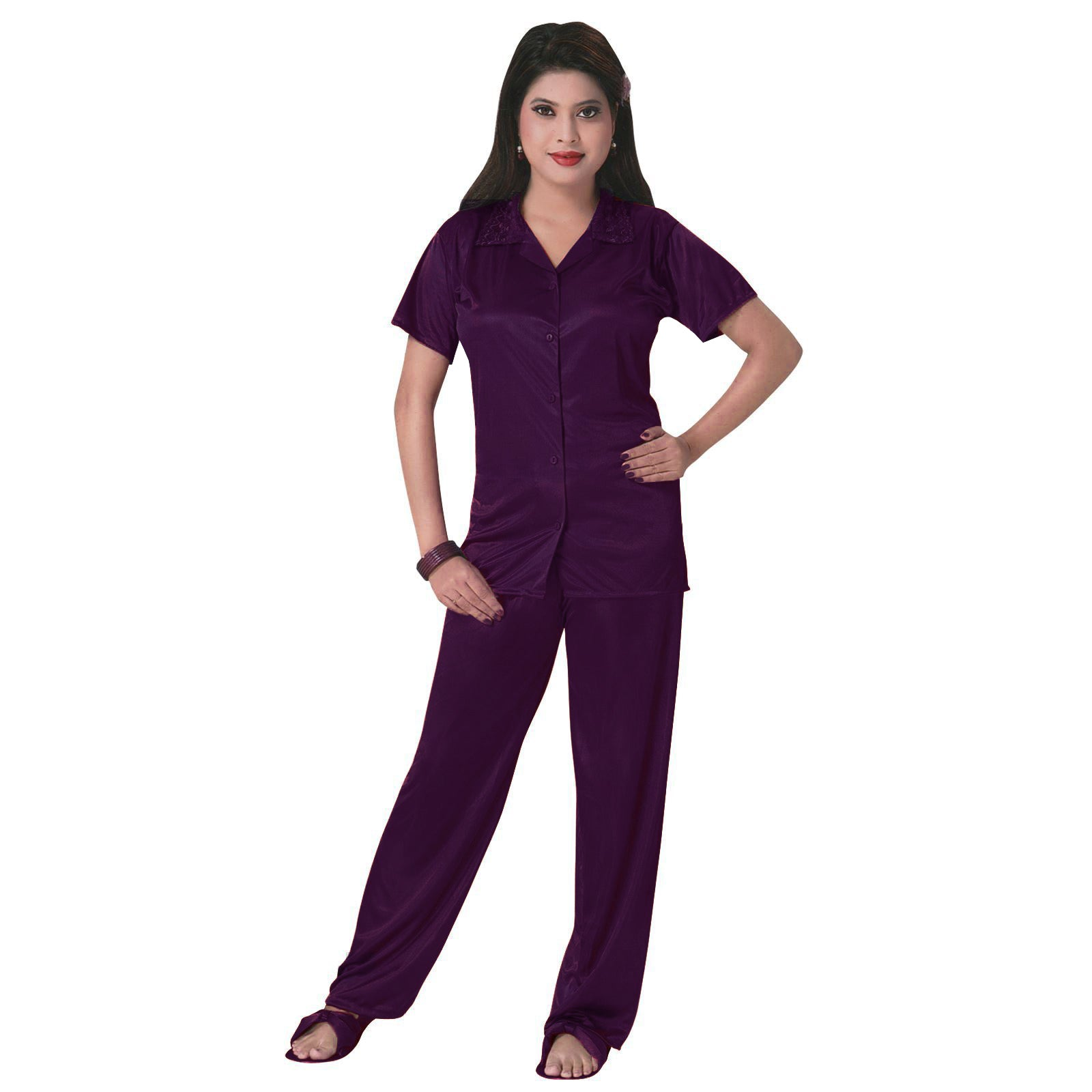 Color: Dark Purple 3 Pcs Satin Pyjama Set with Bedroom Slippers Size: One Size