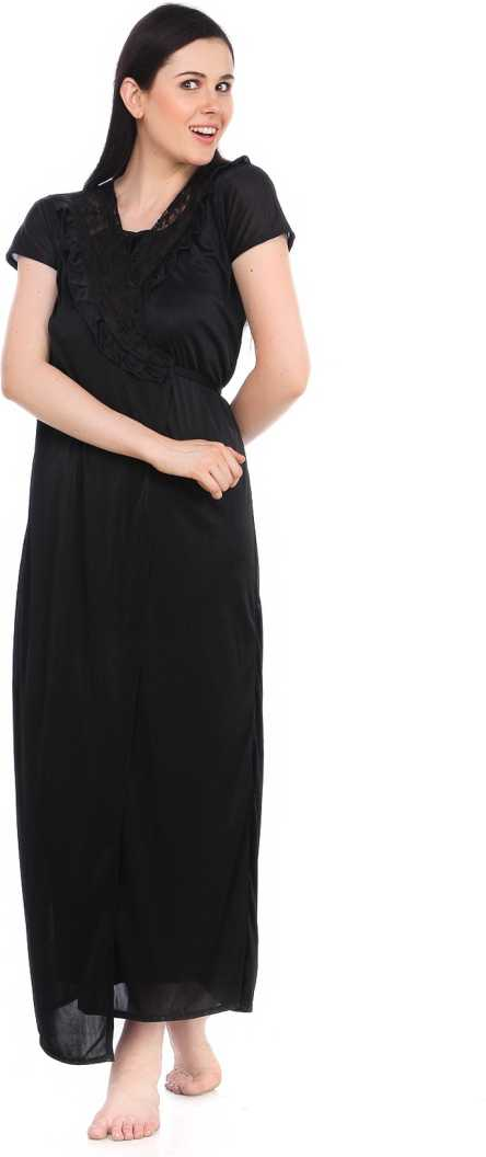 Women's Satin Lace Long Nightdress Nighty Chemise Gown Robe, BLACK, M, L, XL