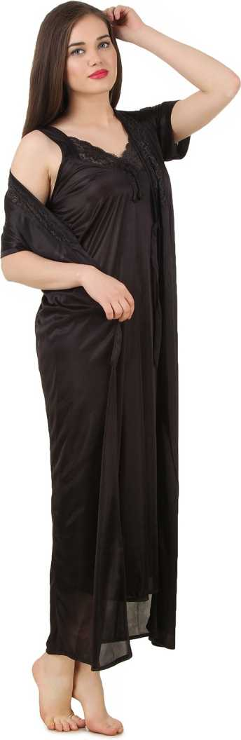Women 2 Pieces Satin Dressing Gown Nightdress, Sexy Ladies Kimono Robe BLACK, ONE SIZE 12
