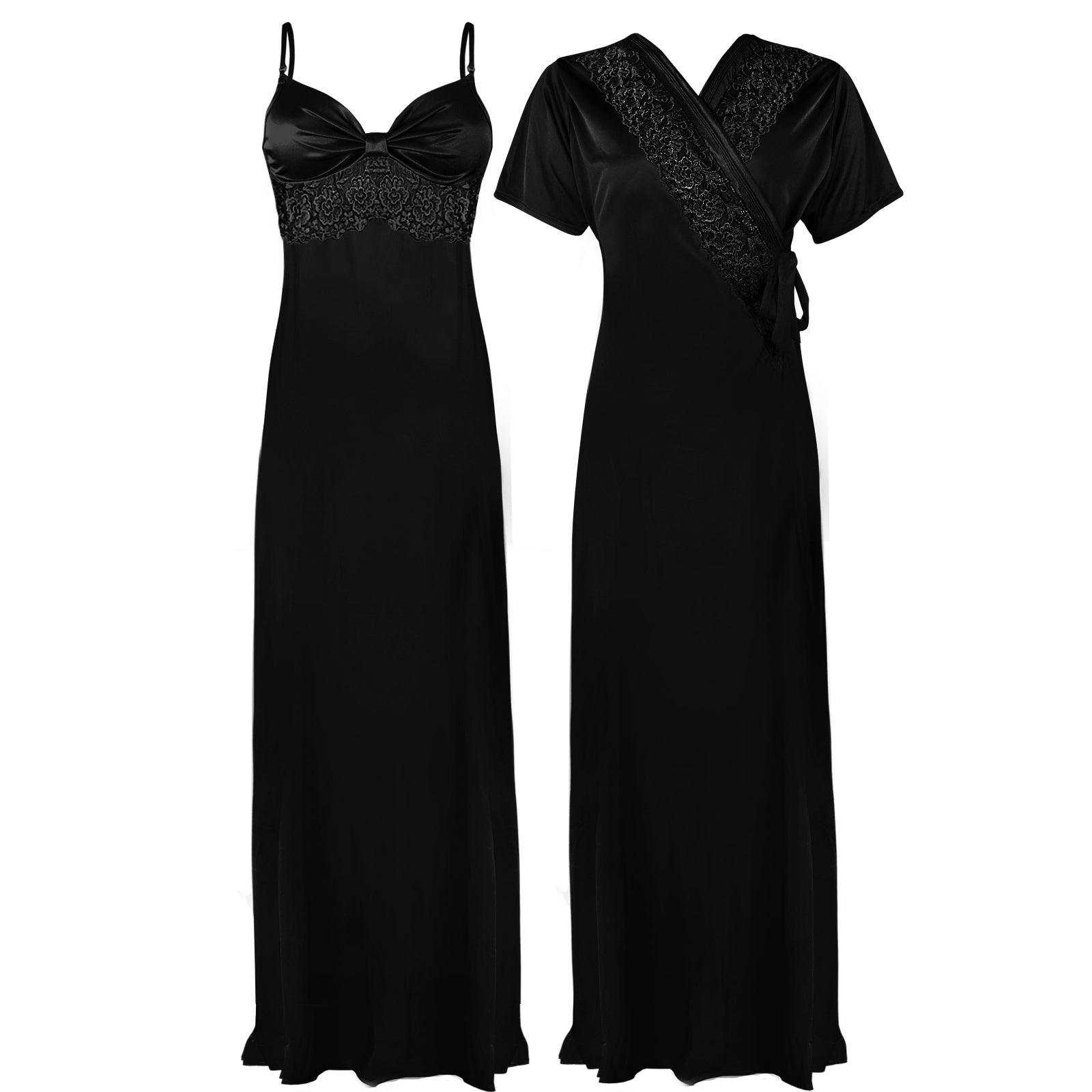 Colour: Black 2 Pcs Strappy Lace Long Nighty With Robe Size: One Size