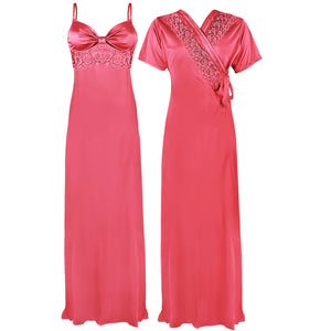 Colour: Coral Pink 2 Pcs Strappy Lace Long Nighty With Robe Size: One Size