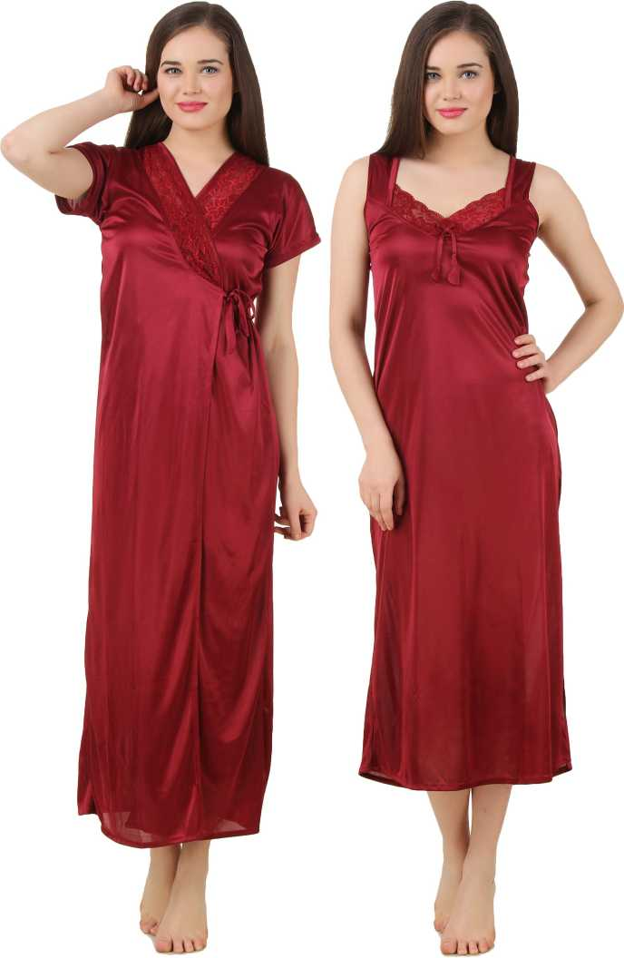 Women 2 Pieces Satin Dressing Gown Nightdress, Sexy Ladies Kimono Robe DEEP RED, ONE SIZE 12