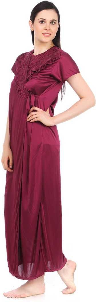 Women's Satin Lace Long Nightdress Nighty Chemise Gown Robe DEEP RED, 8, 10, 12, 14