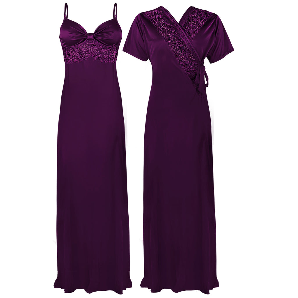 Colour: Dark Purple 1 2 Pcs Strappy Lace Long Nighty With Robe Size: One Size