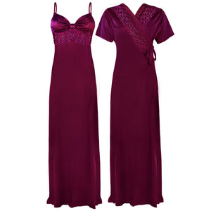 Colour: Dark Purple 2 Pcs Strappy Lace Long Nighty With Robe Size: One Size