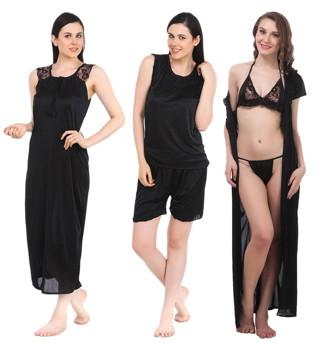 Color: Black 6 Piece satin pyjama set with robe Size: One Size
