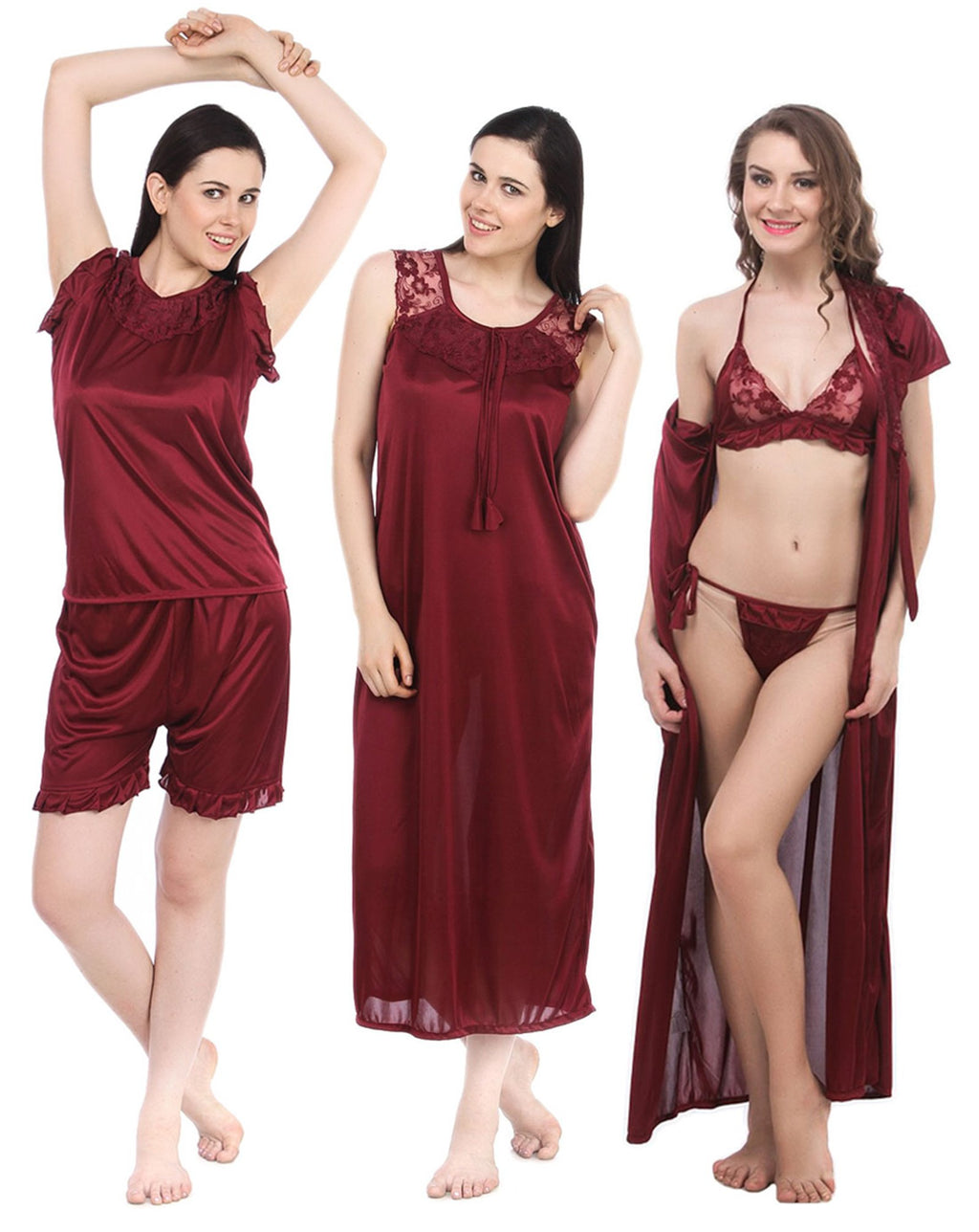 Color: Deep Red 6 Piece satin pyjama set with robe Size: One Size