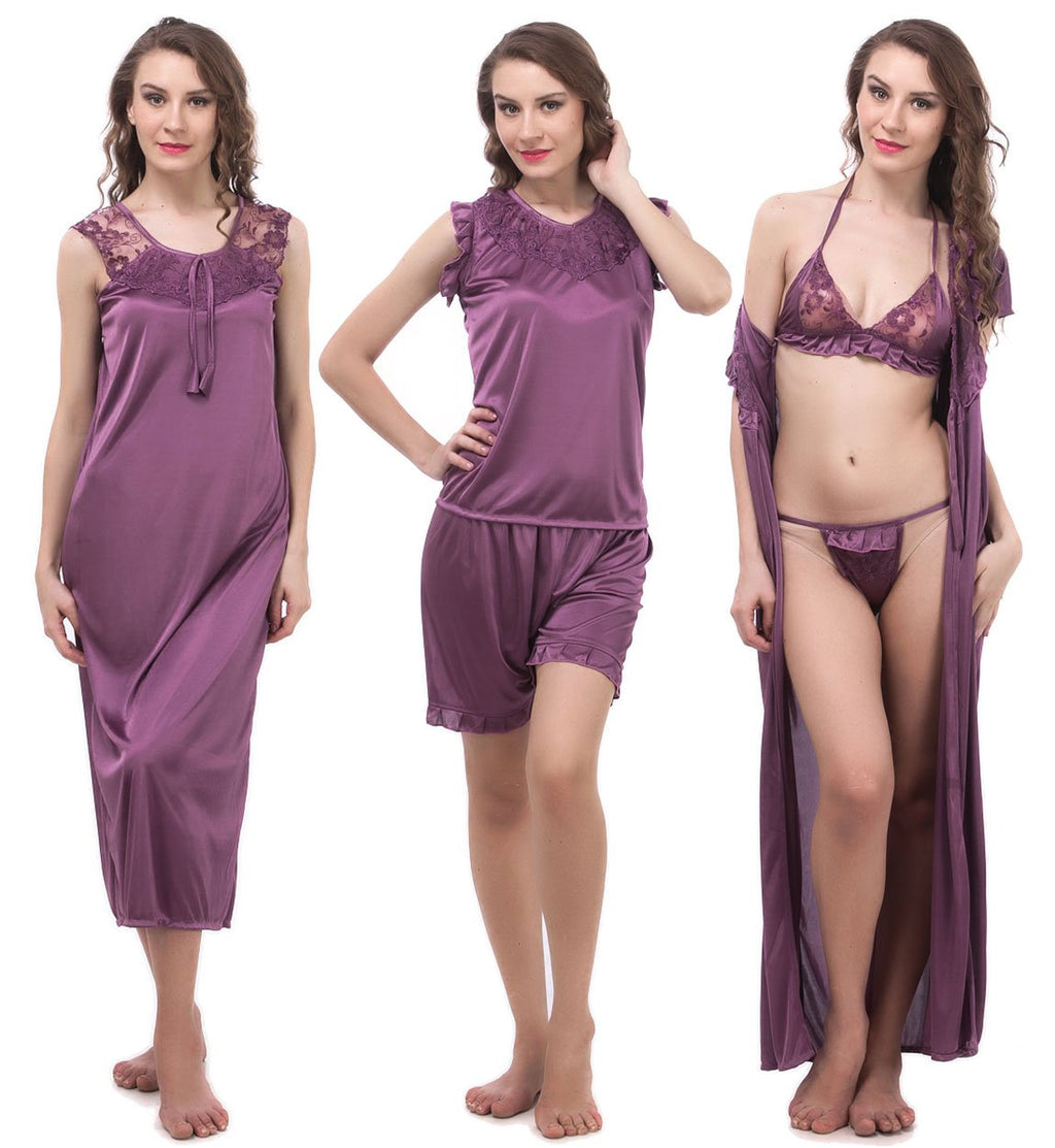 Color: Purple 6 Piece satin pyjama set with robe Size: One Size