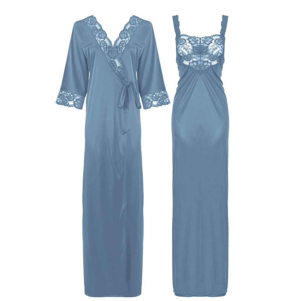Satin Long Lace Nightie with Robe - Hautie Nightfashion Sizes- 12, 14, 16, 18, 20, 22 GREY