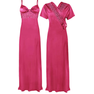 Colour: Light Pink 2 Pcs Strappy Lace Long Nighty With Robe Size: One Size
