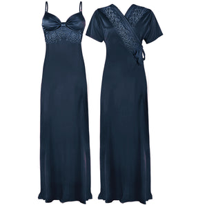 Colour: Midnight Blue 2 Pcs Strappy Lace Long Nighty With Robe Size: One Size